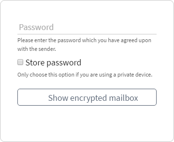 Tutanota's password-encrypted email's password entry interface.