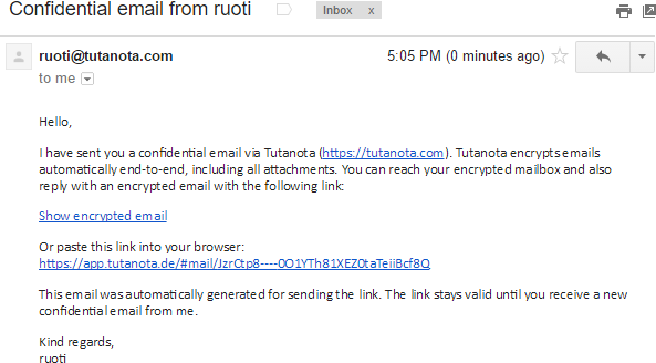 Tutanota's password-encrypted email.